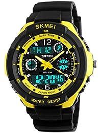 Reloj doble / deportes al aire libre de los hombres / forma electrónica impermeable de la montaña / reloj multi-funcional del salto de la personalidad , large gold