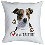 Jack Russell Terrier Kissenbezug - Geschenk Hundefreund Hundebesitzer - Hunde Motiv I love my Jack Russell Terrier - Motiv Kissenhülle Deko 40x40cm weiß : )