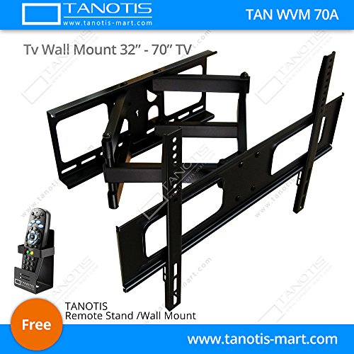 "Tanotis Imported Swivel Tilt Heavy Duty Dual Arm Full Motion TV Wall mount for LCD/LED Plasma TV's upto 32"" to 70"" inch for flat wall or Corner Mounting with VESA upto 600 MM x 400 MM TAN WVM 70A + Free TANOTIS Remote Stand TAN ACC RMS"