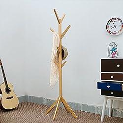 QiangDa Perchero Burro Perchero Ropa Piso de pie de Capa Sombrero de bambú con Soporte de 4 Esquinas, Color de Madera, 178cm Longitud Disponible