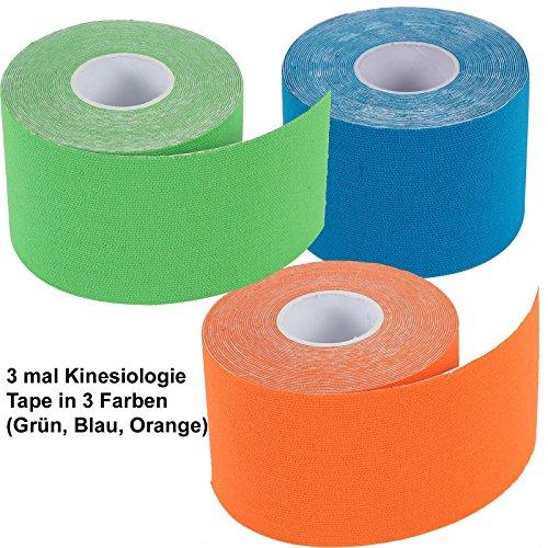 3er Pack: 2-TECH Hautfreundliches Kinesiologie Tape 5 cm x 5 Meter in Blau, Grün, Orange für elastische Tapeverbände