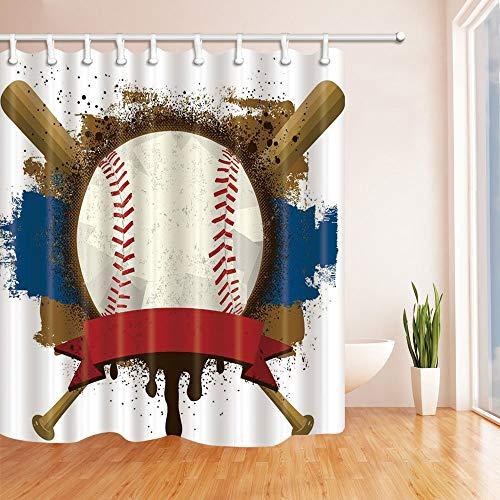 Nyngei Sport Dekor Vintage Baseball Sport Thema Bad Vorhang 180X180 cm Mehltau Resistant Polyester Stoff Duschvorhang Fantastische Dekorationen