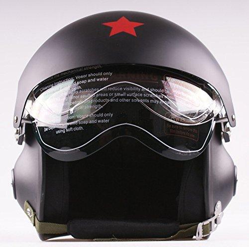 Casco jet 3/4 a doppia visiera semi-integrale, per moto e scooter, colore nero opaco