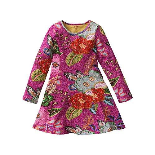 Oilily Mädchen Kleid Twirly jersey dress, Gr. 104, Mehrfarbig (Pink 38)