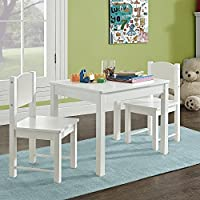 G4RCE® Childrens Kids Wooden White Table and 2 Chairs Nursery Sets Indoor Use Unisex Best Gift For Birthday Xmas