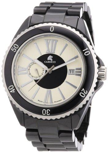 Carucci Watches Catania CA7112BK - Reloj analógico automático para hombre, correa de cerámica color negro