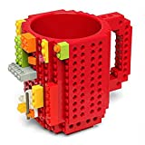 #9: BonZeal Creative Build-On Brick Blocks Puzzle Plastic Coffee Tea Creative Funny Cup Mugs Drinkware (Red)