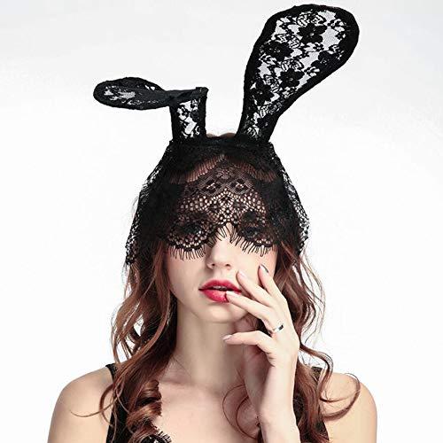 Danolt Frauen Vintage Spitze Bunny Ohren Haarbänder Sexy Maske für Halloween Festival Bankett Cocktail Party Kostüm Zubehör.