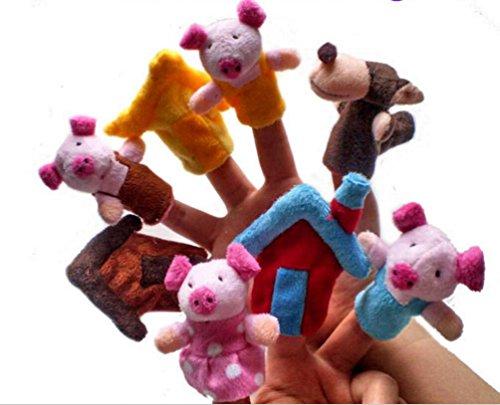Speedmar UK Umweltfreundliches Material Set von 8 Stück Plüsch Fingerpuppen Geschichte der DREI kleinen Schweinchen (Ein Geschichte Schweinchen)