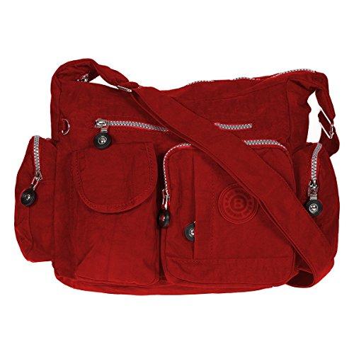 Damen Handtasche Crinkle Nylon Umhängetasche Schultertasche Tasche Shopper Bag (Rot) (Crinkle Handtasche Nylon)