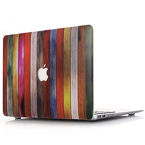 Macbook Air 11 Hülle, L2W Macbook Air 11,6 Zoll Hard Shell Holz Textur Muster Gummi Beschichtet Schutz für MacBook Air 11 Zoll (Modelle: A1370 und A1465)(Regenbogenfarben Holz Textur Muster MW-3 )