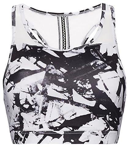 FIND Damen Sport-BH mit Racer-Back, Weiß (Glass Print), Keine Angabe (Herstellergröße: XS) (Glass Hat)