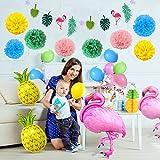 SPECOOL Hawaiian Tropical Dekoration, 52PC Beach Party Supplies mit bunten Ananas Flamingo Ballons Palm Simulation verlässt Banner Papier Pom Poms für Luau Party Dschungel Sommer Tischdekorationen - 7