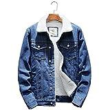 MINGGEN Winter Mens Fur Liner Fleece Jacket Coat Warm Denim Jacket Jean Jackets Outwear Cowboy