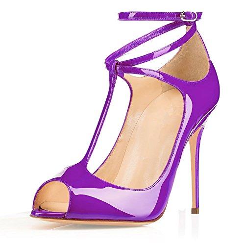 EDEFS Femmes Escarpins Talon Haut Bride Cheville Chaussures High Heel Bout Ouvert Violet