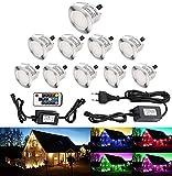 RSWLED Lot de 10 LED Spot Extérieur Terrasse Enterré Plafonnier,LED Encastrable Lumière 0.1-0.3W IP67 DC12V Etanche Lampe Extérieur Pour Chemin,Escalier,Piscine,RGB [Classe énergétique A]