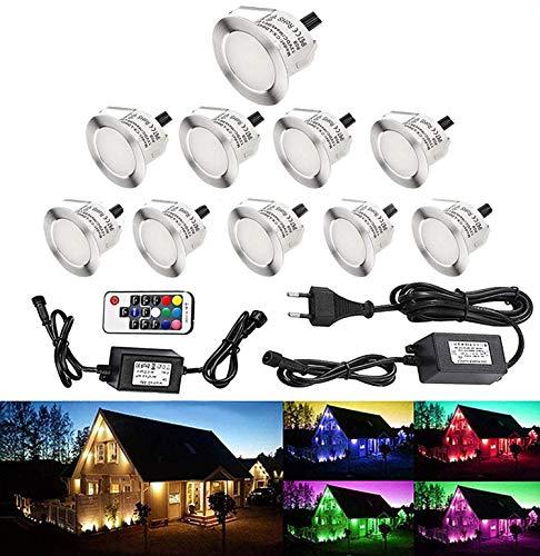 Lot de 10 LED Spot Extérieur Encastrable Lumière de Terrasse Escalier Piscine Enterré Plafonnier,LED Encastrable Lampe Etanche 0.1-0.3W Pour Chemin,RGB [Classe énergétique A] IP67 DC12V RSWLED