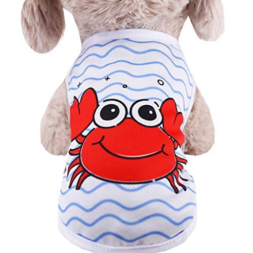 JKRTR Kleidet den Rock, der nettes Haustier-Welpen-Weste-Kleidungs-Hemd druckt(Weiß,XS)