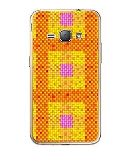 PrintVisa Designer Back Case Cover for Samsung Galaxy J1 (6) 2016 :: Samsung Galaxy J1 2016 Duos :: Samsung Galaxy J1 2016 J120F :: Samsung Galaxy Express 3 J120A :: Samsung Galaxy J1 2016 J120H J120M J120M J120T (Orange And Yellow Square Design)