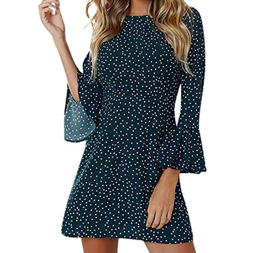 Damen Maxi Kleider,Kanpola Frauen Mode Minikleid Rundhals Lange Ärmel A-Linie Kleid Partykleid...