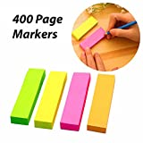 #9: 4 Sets Neon Page Marker Colored Index Tabs Flags, Rainbow Assorted Bright Colors, Fluorescent Sticky Note for Page Marker, 400 Pieces