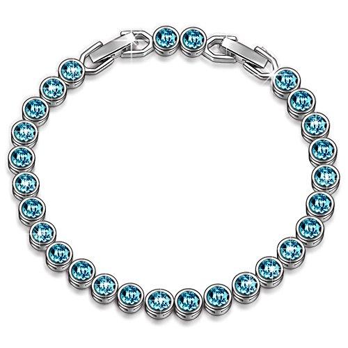 Susan Y Regalo di natale donna braccialetti pandora braccialetto swarovski di cristallo blu braccialetti compleanno anniversario matrimonio regalo regali per mamma ragazze signore fidanzata moglie lei