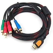 Digiflex - Cable adaptador HDMI macho a 5 RCA RBG, negro
