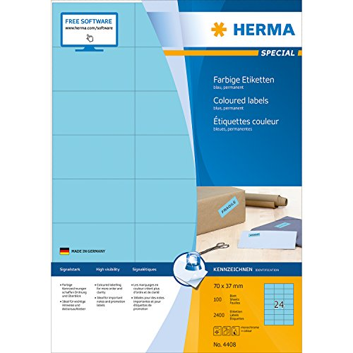 Herma 4408 Farbetiketten (70 x 37 mm auf DIN A4 Papier matt) 2.400 Stück auf 100 Blatt, blau, bedruckbar, selbstklebend