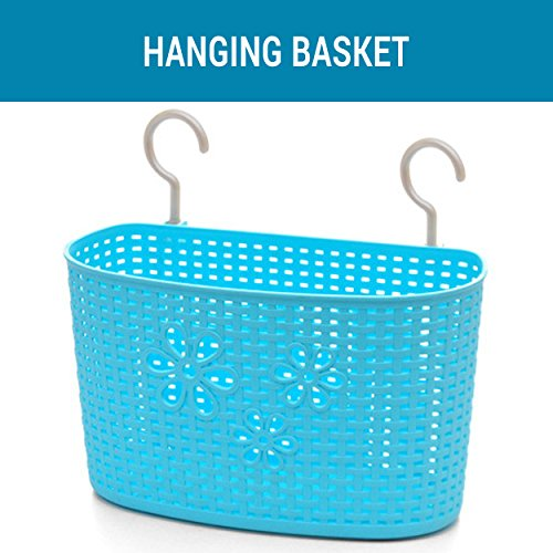 Tied Ribbons Plastic Basket Bathroom Hanging Rack Kitchen Supplies Organizer Decoration Portable Useful Stationery Storage Baskets(Plastic,Assorted Color,1 Pc)