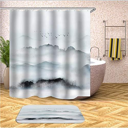hysxm Scenic Wasserdichte Duschvorhänge Home Bad Vorhänge Polyestergewebe Badezimmer Bildschirme Angepasst-160(H)*200(W) cm