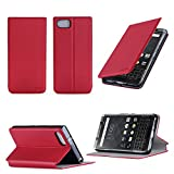 Blackberry Keyone Tasche Leder Hülle Rot Cover mit Stand - Zubehör Etui Blackberry Classic Sim Flip Case Schutzhülle (PU Leder, Handytasche Red) - XEPTIO accessoires