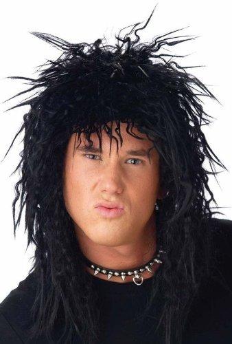 Mens Rockstar Heavy Metal Rocker Kiss 1970's 80's Black Fancy Dress Costume Wig by (Metal Heavy Kostüm Rockstar)
