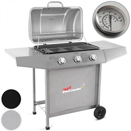 Broil-master - Barbecue à Gaz en Acier avec 3 Brûleurs, Couvercle avec Thermomètre et 2 Roulettes