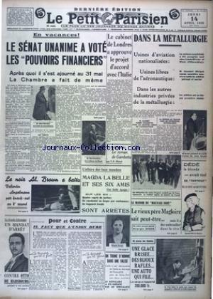 PETIT PARISIEN DERNIERE (LE) [No 22324] du 14/04/1938