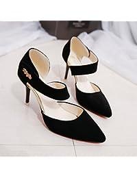 La multa High-Heel zapatos con _Verano Hollow Baotou Elegante y versátil con una punta fina, Negro,38