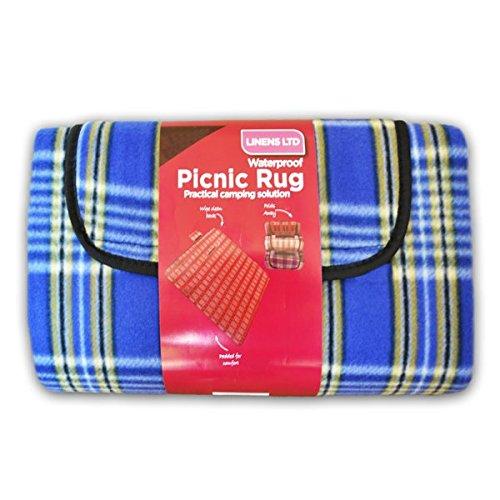 Linens Limited - Couverture de pique-nique - polaire/résiste à l'eau - carreaux - bleu - 105 x 135 cm
