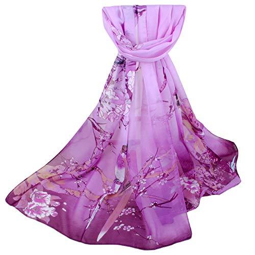 POPLY Schal, Farbverlauf Farbe Böhmen Drucken Schals Damen Elegant Lange Weiche Wrap Mode Schlauchschal 160x50cm Chiffon Halstuch Tücher