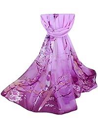 Foulards,LEvifun Foulard Femme Chic Mousseline de soie Dégradé Style Longue  Écharpe Dames Élégant Imprimé 93d553a9e1a