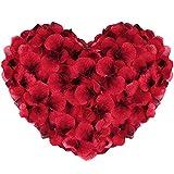 Vegena 2500 Stück Rosenblüten, Seide Rosenblätter Rosen Blätter Blüten Kunstblumen Seidenblumen für Romantische Atmosphäre und Hochzeit, Geburt, Taufe, Valentinstag, Geburtstag Party Dekoration (Rot)