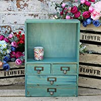 Ablerhome Decoration Rustic Wooden Wall Shelves Four Drawers Holder Free Stand Storage Organiser Decor Display Jewellery Container Unit (4 Drawer Turquoise)