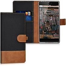 kwmobile Funda para Huawei P8 - Wallet Case plegable de cuero sintético - Cover con tapa tarjetero y soporte en negro marrón