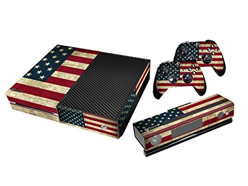Xbox One Protective Vinly Skin Sticker Consola Decal Pegatinas + 2 Controlador & Kinect Skins Set (Flags USA Retro)