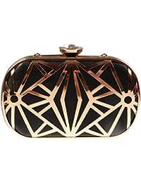 KISS GOLD(TM) Exquisite Faux Leather Metal Hollow Designer Clutch Bag Evening Handbags