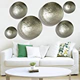 #9: 6 pcs Rise Hammer Finish Silver Color Handmade Metal Wall Art Sculpture Wall Decor and Hanging