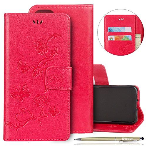 Kompatibel mit Handyhülle iPhone 6S Plus 5.5 Handytaschen Retro Blumen Schmetterling Muster Lederhülle Hülle Klapphülle Brieftasche Schutzhülle Leder Tasche Bookstyle Flip Case Cover,Hot Pink
