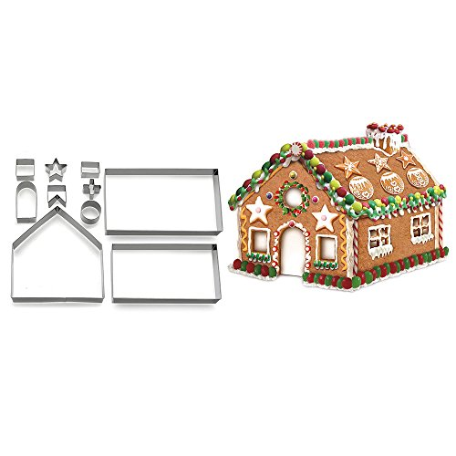 Himki Weihnachten Ausstechformen Edelstahl 3D Plätzchenformen DIY Fondant Backform (Lebkuchenhaus)