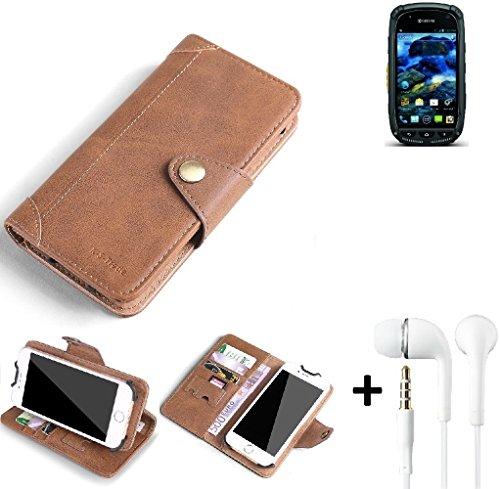 K-S-Trade® Schutzhülle für Kyocera Torque Hülle Tasche Handyhülle Handytasche Wallet Flipcase Cover Handy Tasche Kunsteleder Braun Inkl. in Ear Headphones