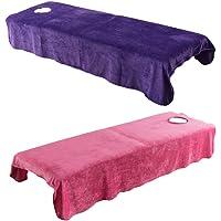 perfk 2pcs Drap de Lit Housse Spa Massage Traitement Table de Lit Drap Housse de Protection pour Tables de Massage/Rose + Violet