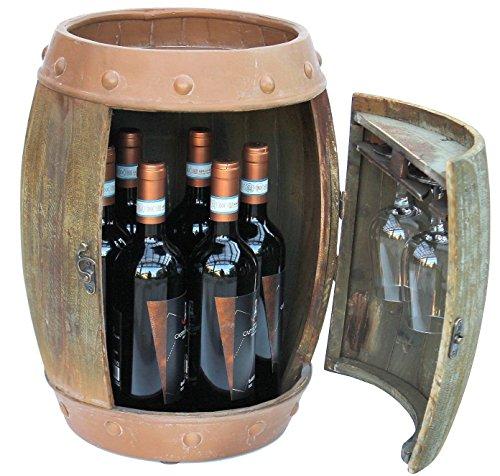 DanDiBo Weinregal Holz Weinfass Braun 44 cm 91361 Bar Flaschenregal Flaschenständer Klein Fass Holzfass -