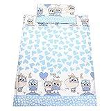 TupTam Kinderbettwäsche Set Gemustert 2 teilig, Farbe: Eulen mit Herzen / Blau, Größe: 135x100 cm